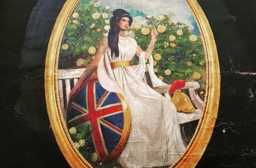 arte Amy Winehouse na parede do Hawley Arms como Britannia, por Reuben Dangoor.