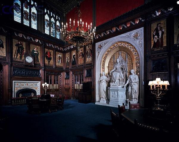 prince's chamber câmera dos lordes no parlamento britânico. Sala linda com detalhes em dourado e esculturas