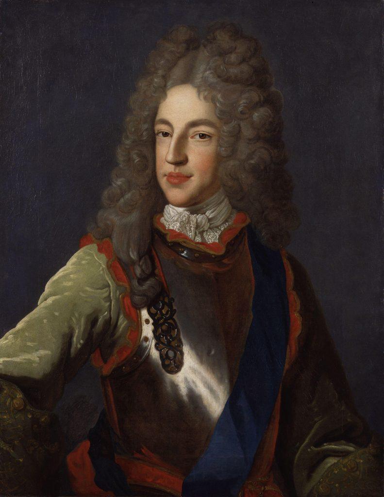pintura de James Francis Edward Stuart, old pretender, james iii e james VIII. Hoje na National Gallery, em Londres. Ele fugiu com o pai para a França durante a Revolução Gloriosa