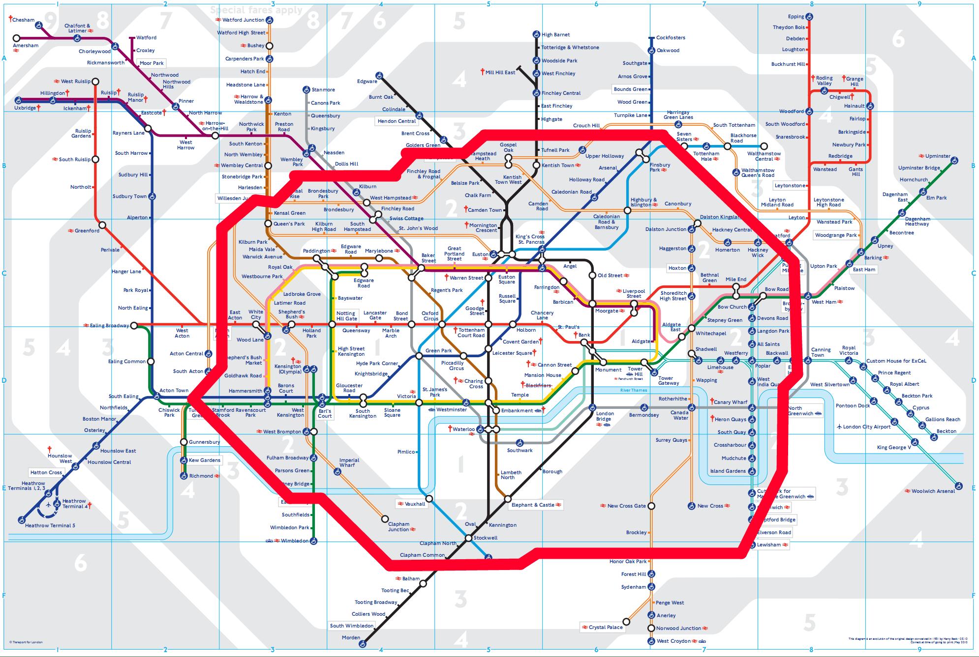 mapa do metrô de londres zonas 1 e 2 destacadas qual melhor zona ficar regiao