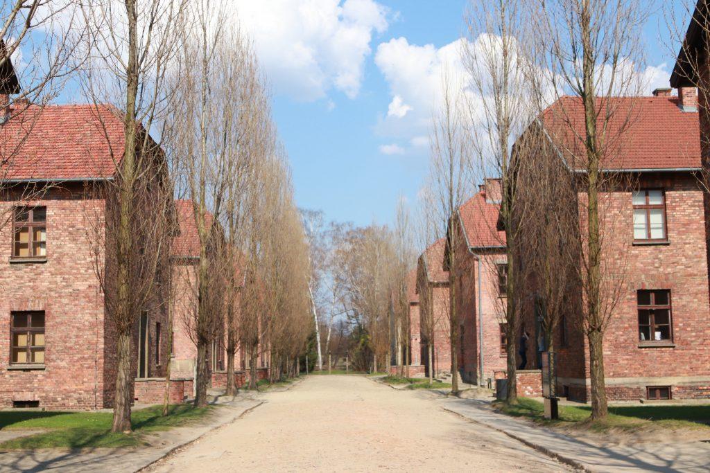 Duas fileiras de prédios de tijolos, os blocos de Auschwitz I