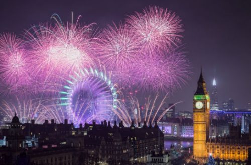 fogos de artificio em londres no dia de ano novo com a London Eye e o Big Ben aparecendo