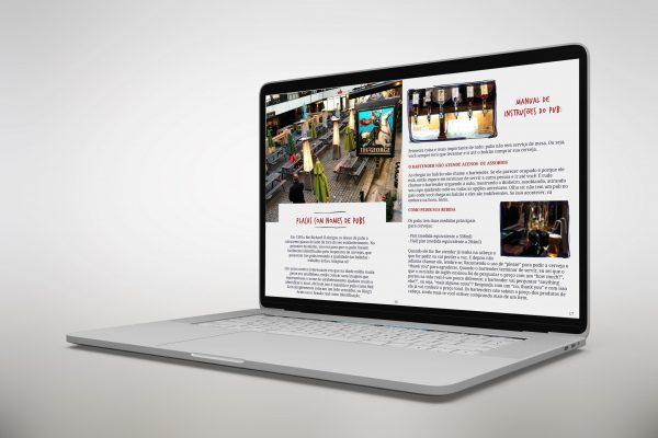 simulação de ebook guia de pubs de londres no computador