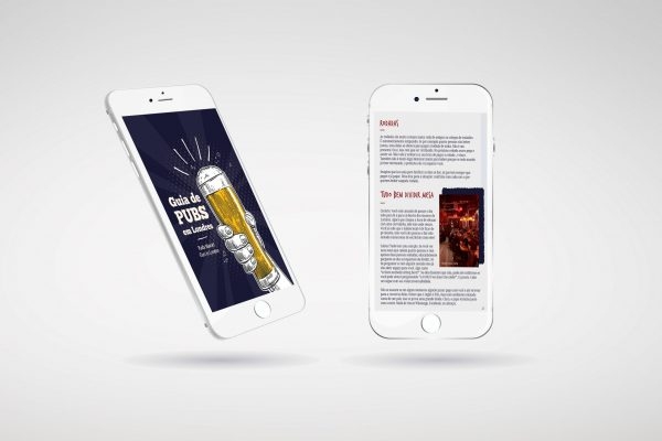 simulação de ebook guia dicas de pubs de londres no celular