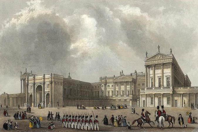 ilustração do palacio de buckingham em londres com pessoas a cavalo e soldados marchando na frente
