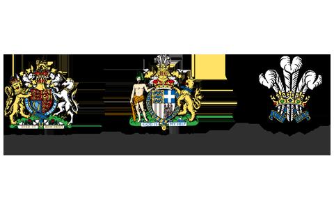 selos de indicação da rainha elizabeth ii, principe philip e principe charles