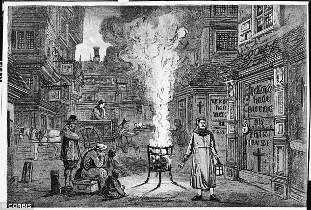 recorte com ilustração de jornal falando da praga de londres de 1665