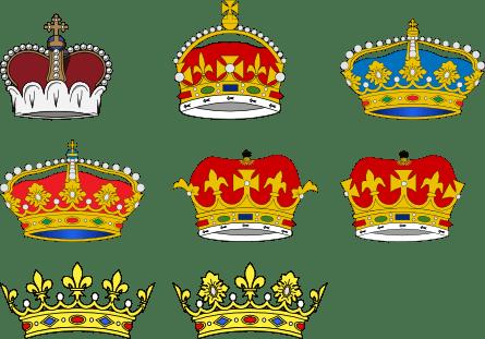 coroas relacionadas aos diferentes titulos britanicos de conde, duque, visconde e barão
