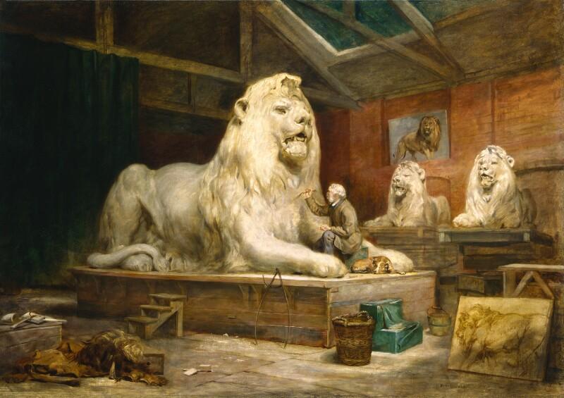 pintura dos leões de trafalgar square sendo feitos no estúdio de Sir Edwin Landseer